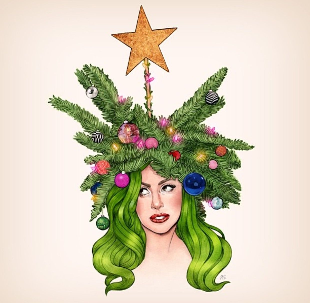 Pin By Soulbearingquotes On Printable Special Occasion Holiday Cards Templates And Clip Art Helen Green Lady Gaga Outfits Christmas Drawing