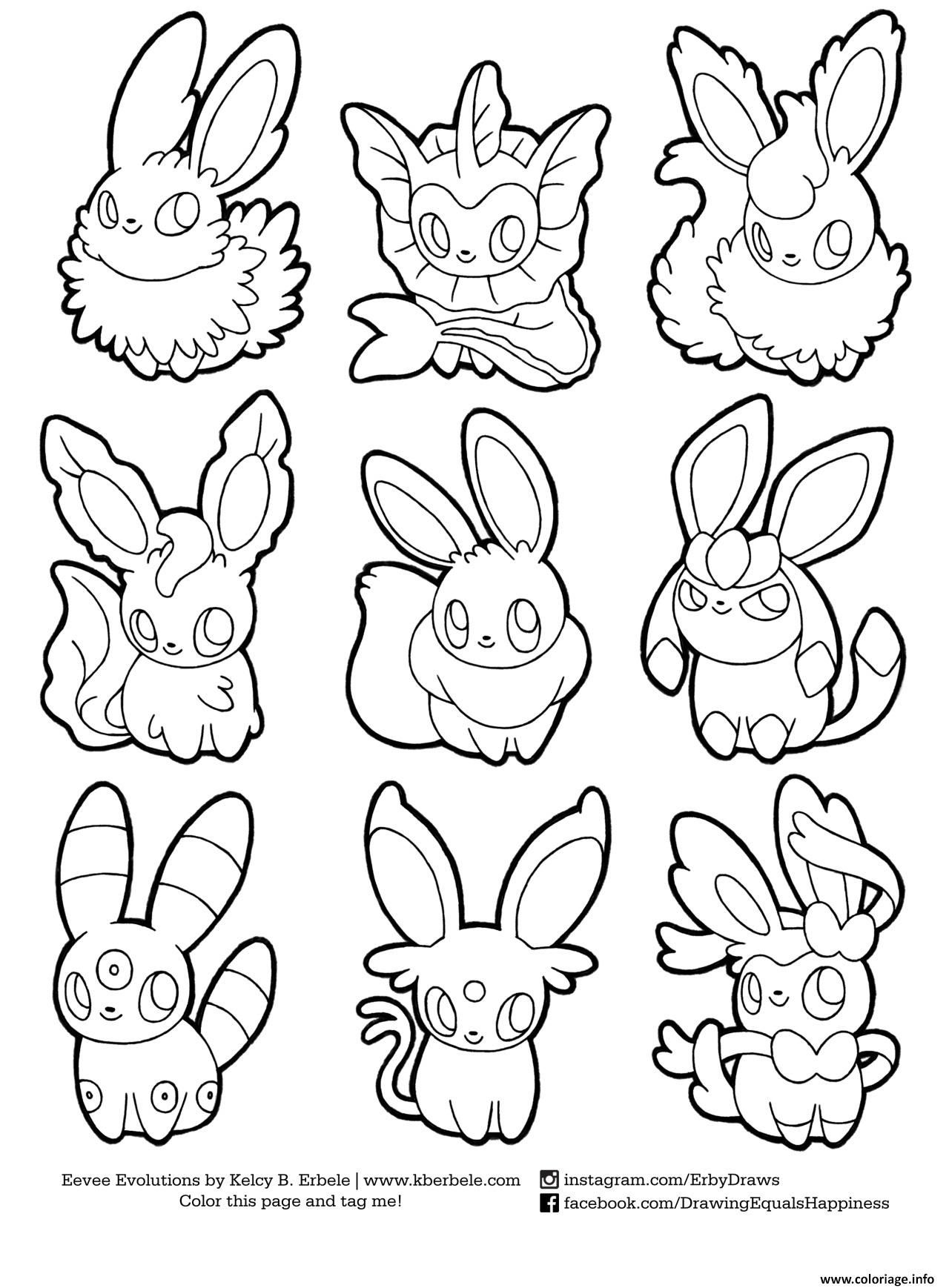 Coloriage pokemon eevee evolutions list   imprimer et coloriage en ligne pour enfants Dessine les coloriages Pokemon Eevee Evolutions List de dessin