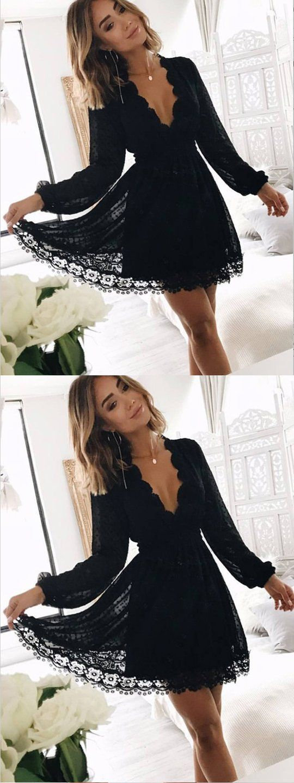 273fef235ead4 A-Line Deep V-Neck Long Sleeves Black Lace Short Homecoming Dresses ,BDY0274