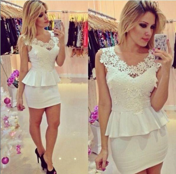Vestido vestido de renda curto
