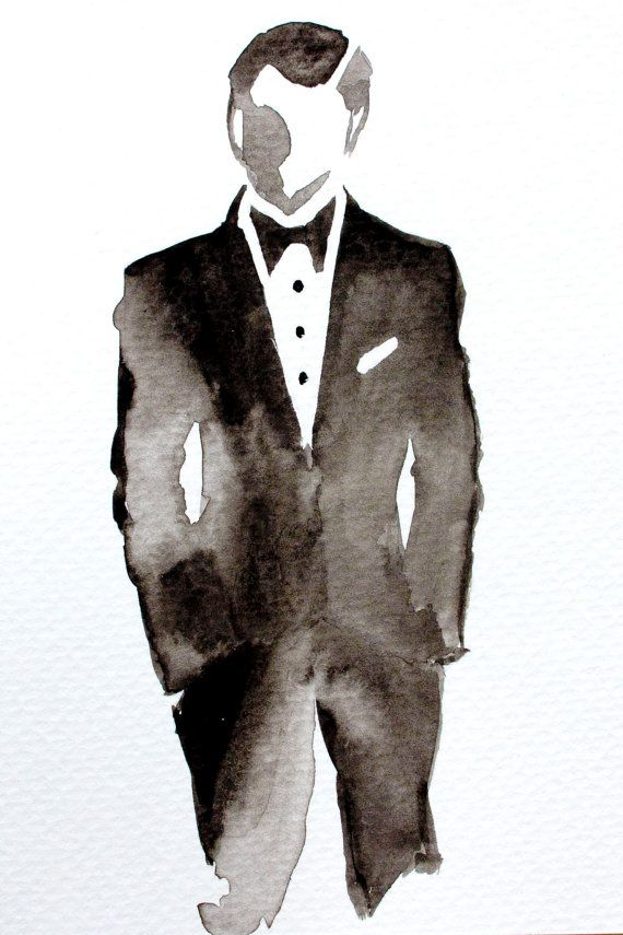 DAPPER Hand Painted Fashion Illustration, Gallery Wall, Fashion Wall Art, Office Decor, Mens Office, Wedding Gift. Frame Not Included.