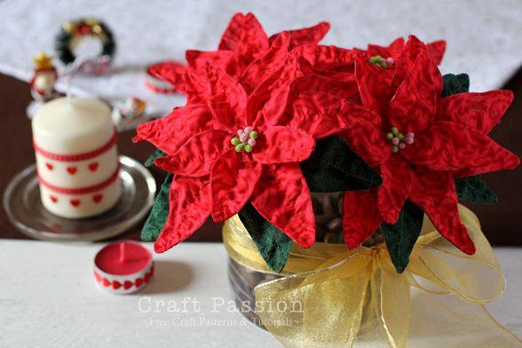 Fabric Poinsettia Diy Tutorial Christmas Craft Passion Diy Felt Christmas Tree Christmas Crafts Xmas Crafts