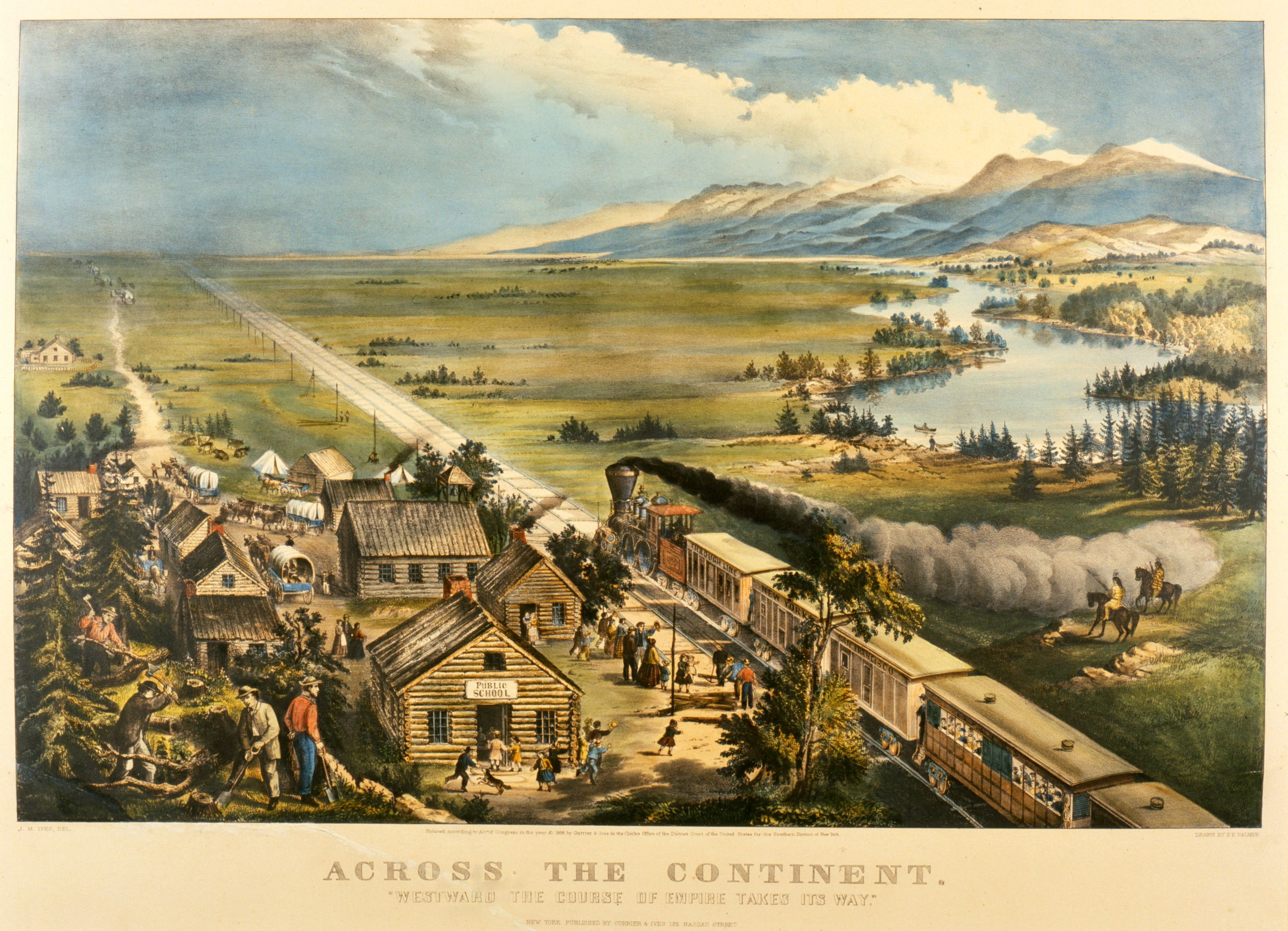 Currier Amp Ives Lithograph Across The Continent