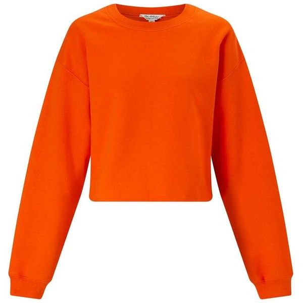 b1485951d961bc Bright Orange Cropped Sweatshirt ( 40) ❤ liked on Polyvore featuring tops