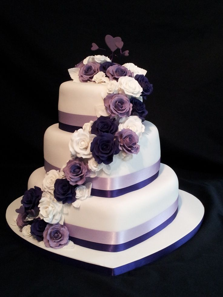 3 tier purple wedding cake 3 tier shaped wedding cake roses cascading 10239