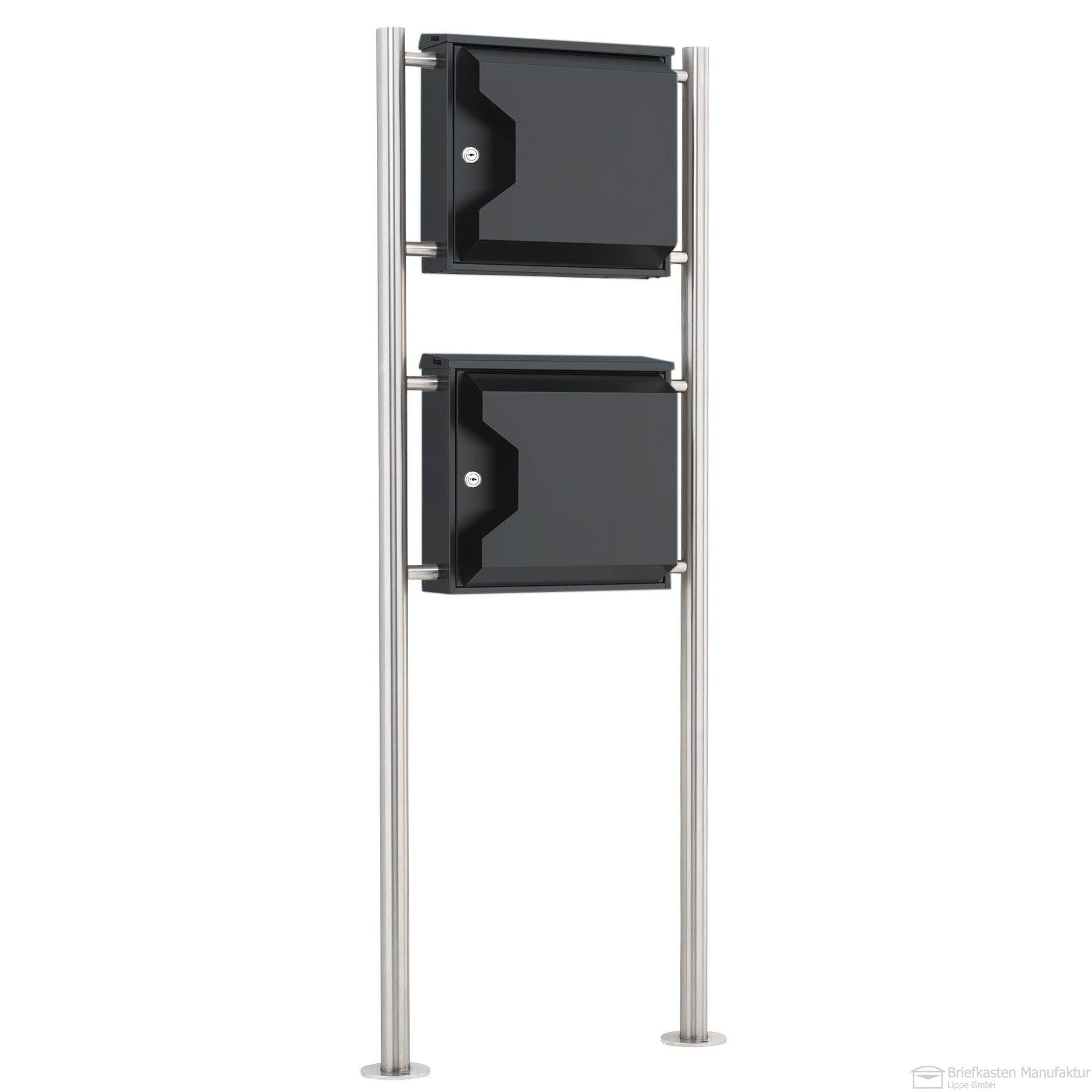 edelstahl doppelbriefkasten freistehend mit zeitungsfach edition edelstahl anthratzitgrau. Black Bedroom Furniture Sets. Home Design Ideas