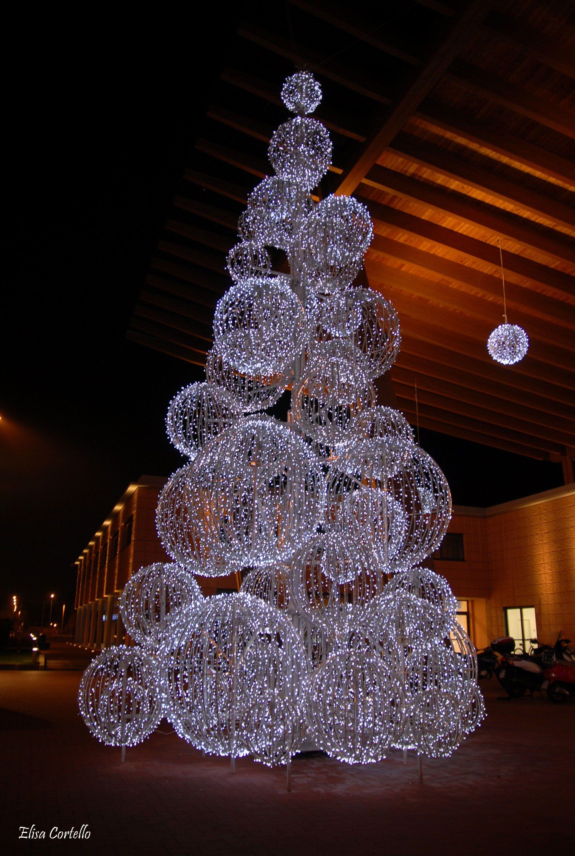 Christmas light balls shaped into a Christmastree