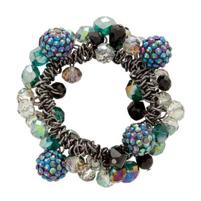 Pave teal crystal and facet bead cluster stretch bracelet