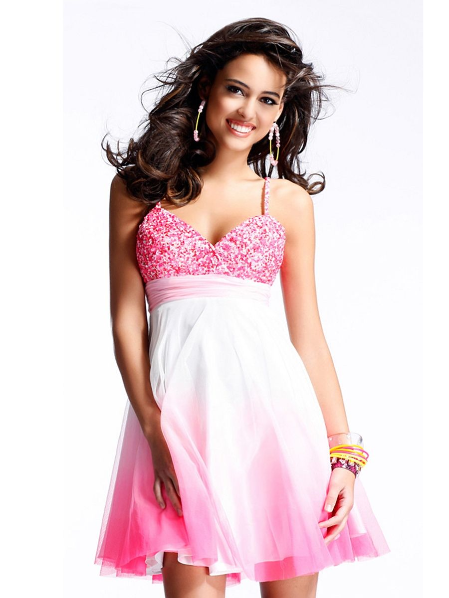 Sequined Bodice Spaghetti Straps Chiffon Skirt Sweetheart Neckline ...