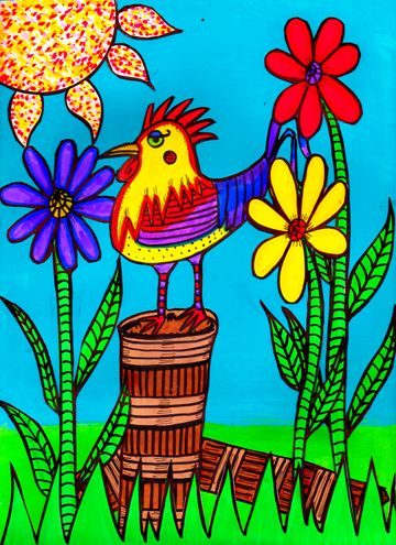 Wildflower Rooster By Dawn Collins