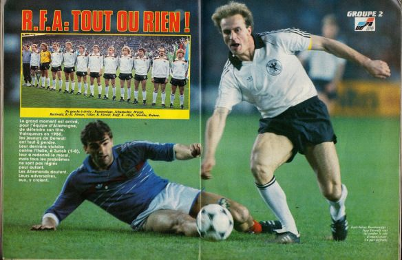 France 1 West Germany 0 in April 1984 in Strasbourg. Karl-Heinz Rummenigge battles his way forward #Friendly