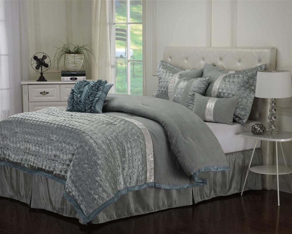 Dannica 7 piece silver teal ruffled comforter bedding