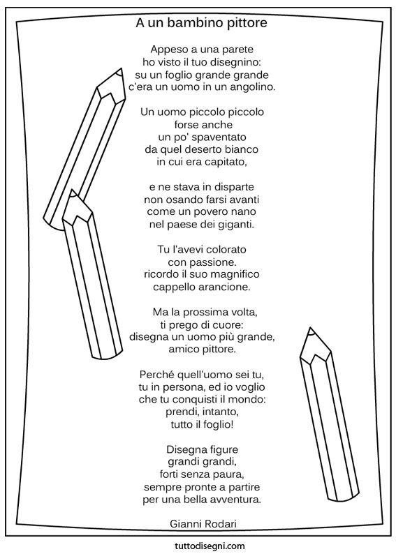 Poesia A un bambino pittore | italiano | Pinterest | School and ...