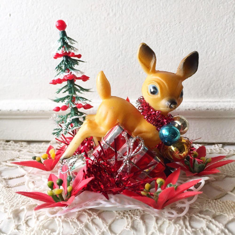 Vintage Christmas Deer Fawn Doe Reindeer Holiday Kitsch Mercury Glass Decor Vintage Christmas Christmas Deer Mercury Glass Decor