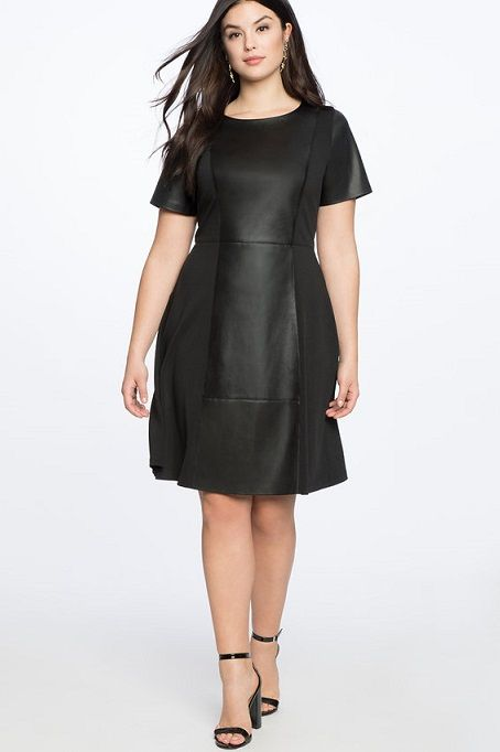 7cdd4aee1be Black Plus Size Faux Leather and Ponte Mix Little Black Dress - Faux leather  has never looked so sophisticated! Opt for a dressier look