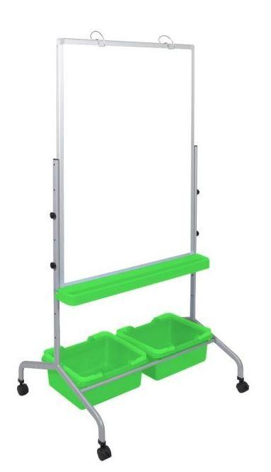 Classroom Chart Stand w/ Storage Bins in Green - Luxor MB3040WBIN