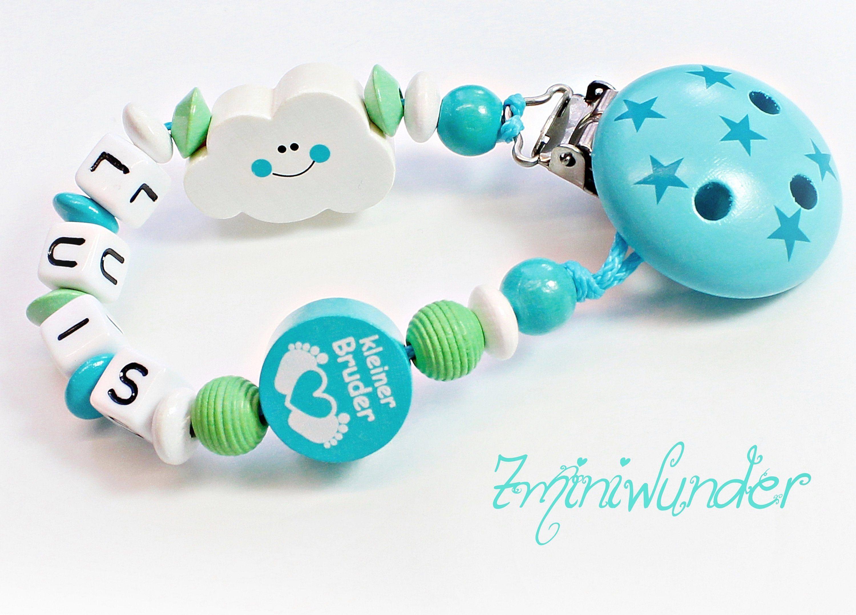 Schnullerkette mit Namen kleiner Prinz in blau//grau Babyparty Geburt Taufe