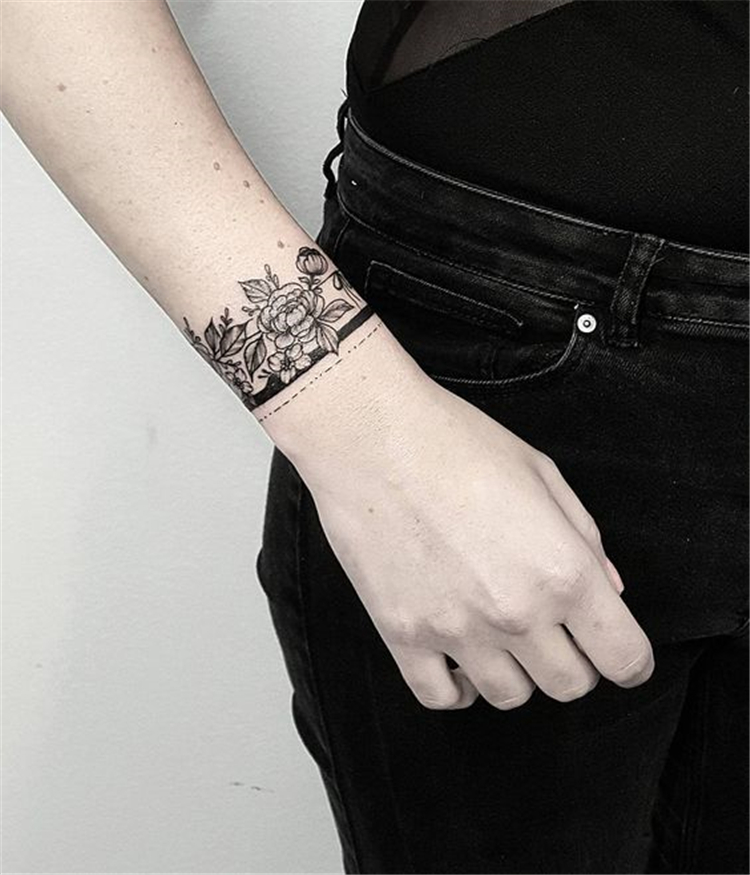 50 Meaningful Wrist Bracelet Floral Tattoo Designs For You Page 5 Of 50 Cute Hostess In 2020 Forearm Band Tattoos Wrist Bracelet Tattoo Wrist Tattoo Cover Up