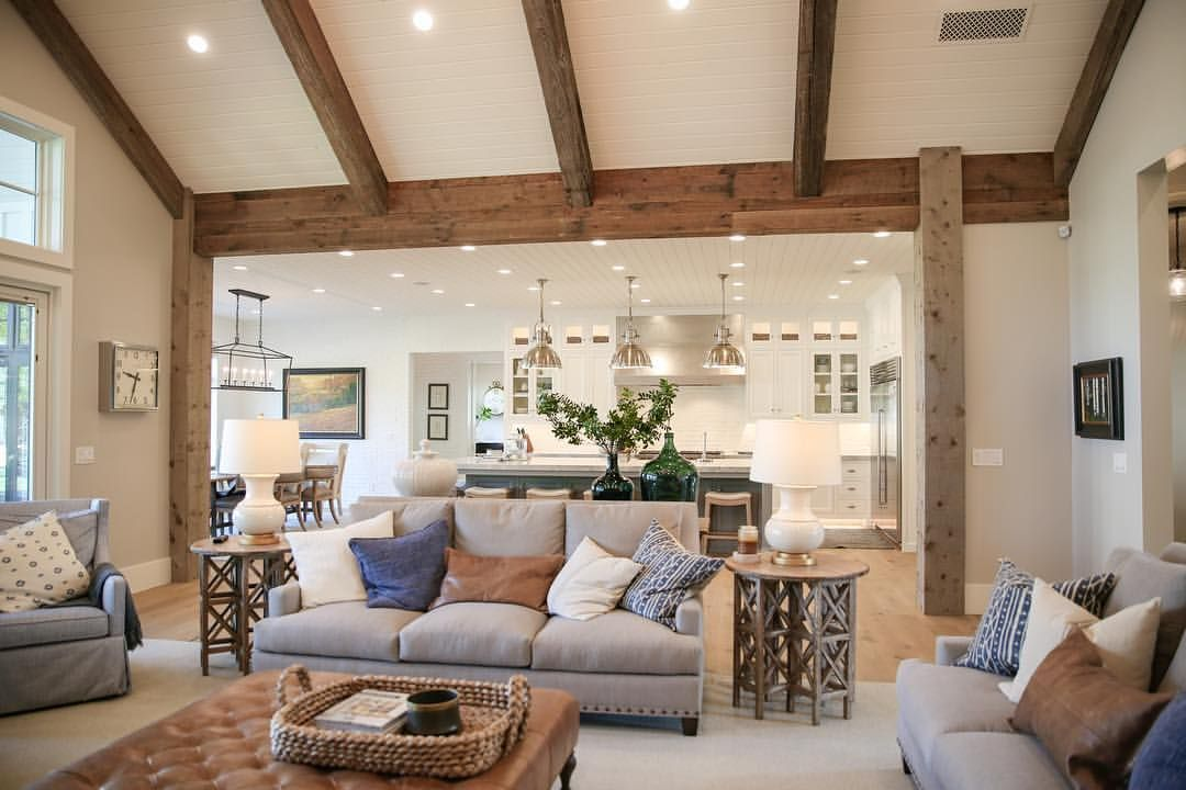 This Transition From Den To Kitchen Vaulted Ceiling Living Room Ceiling Beams Living Room Vaulted Living Rooms #vaulted #ceiling #living #room #and #kitchen
