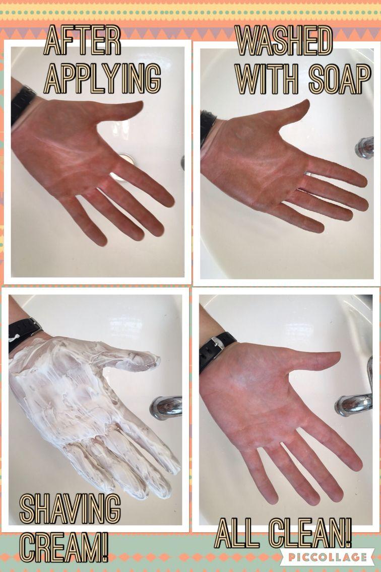 Shaving cream removes self tanner!!! Any kind should work