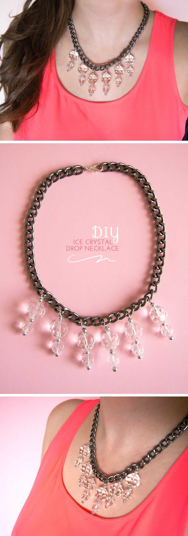 diy // ice crystal drop necklace #diy #doityourself #howto