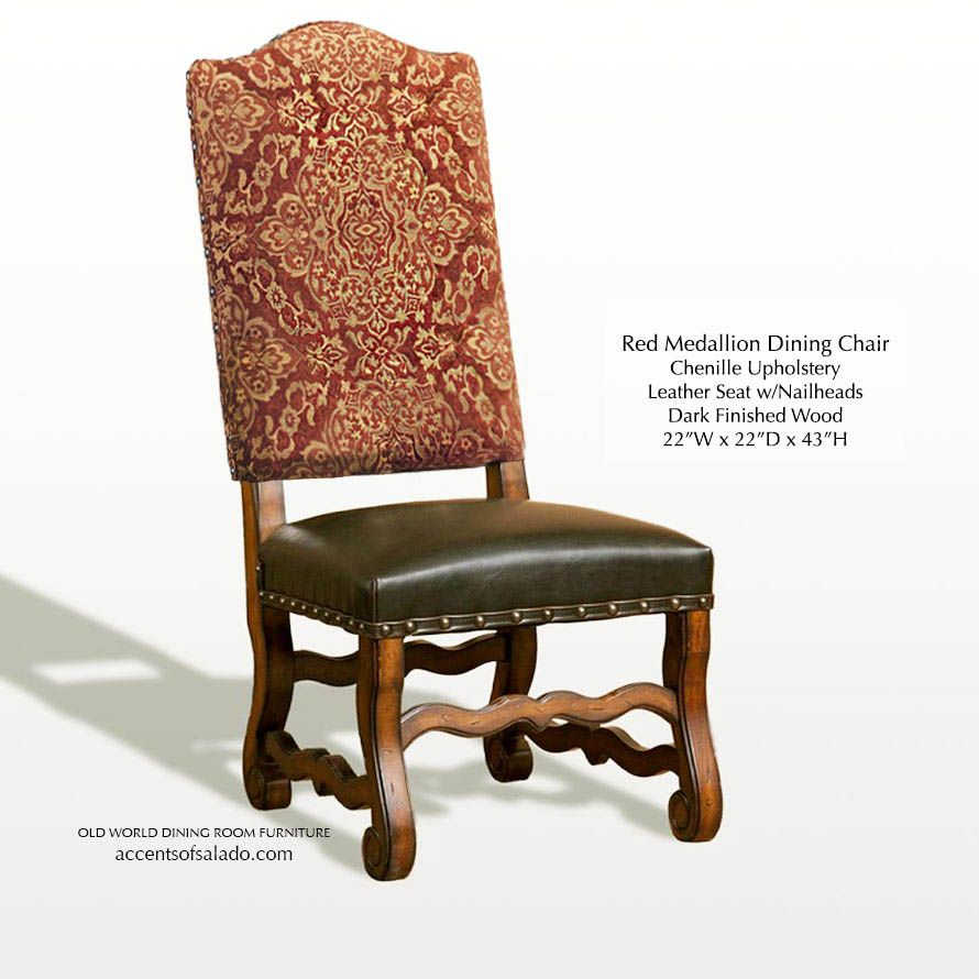 Red dining chair for tuscan old world at accents of salado