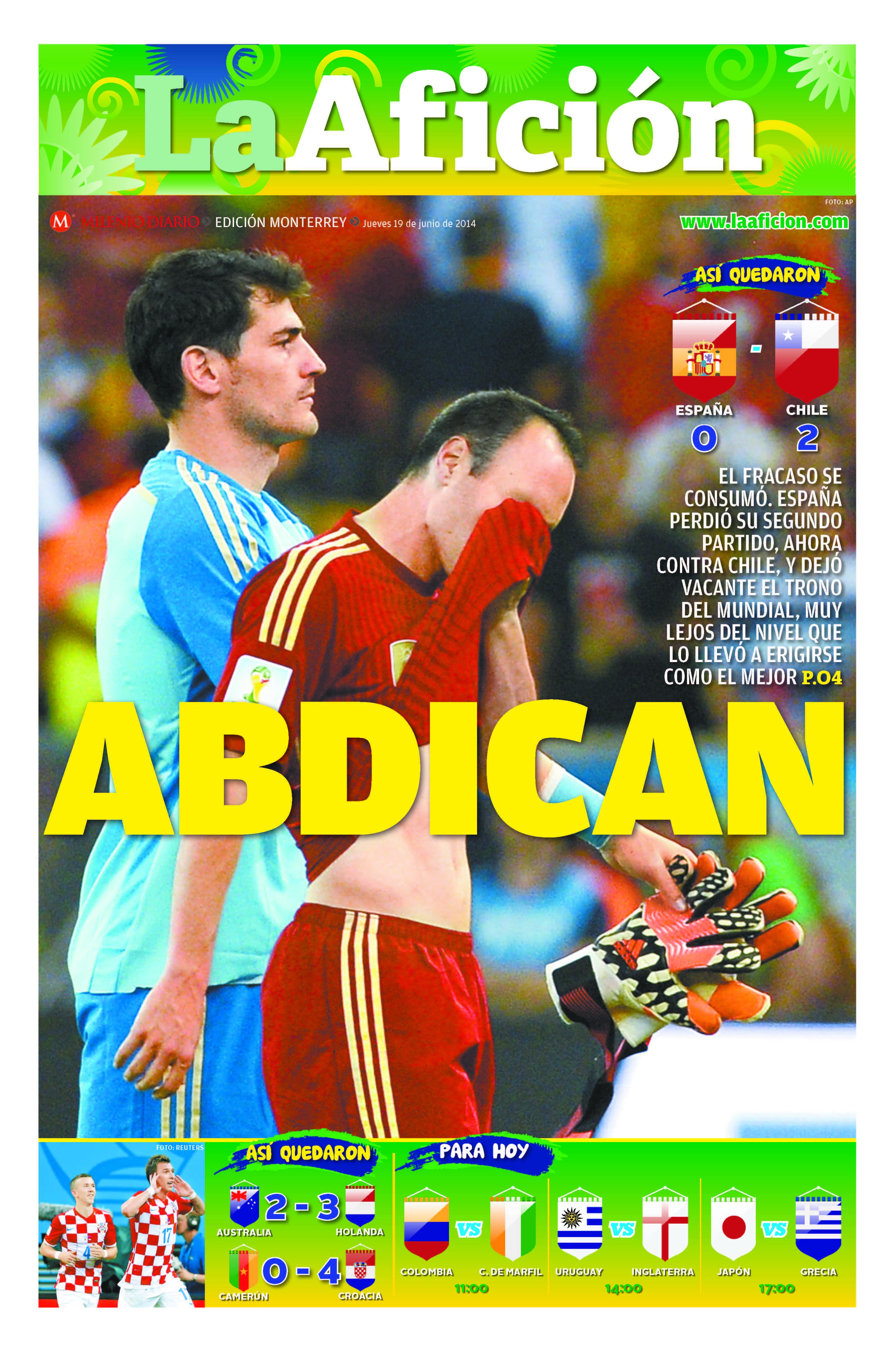 Portada La Afición Monterrey 19/06/14 | ABDICAN