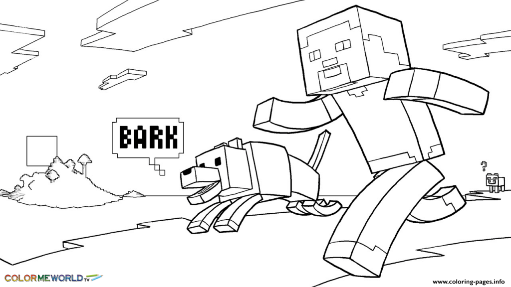 Steve With Dog Coloring Page Minecraft Coloring Pages Coloring Pages For Kids Coloring Pages To Print