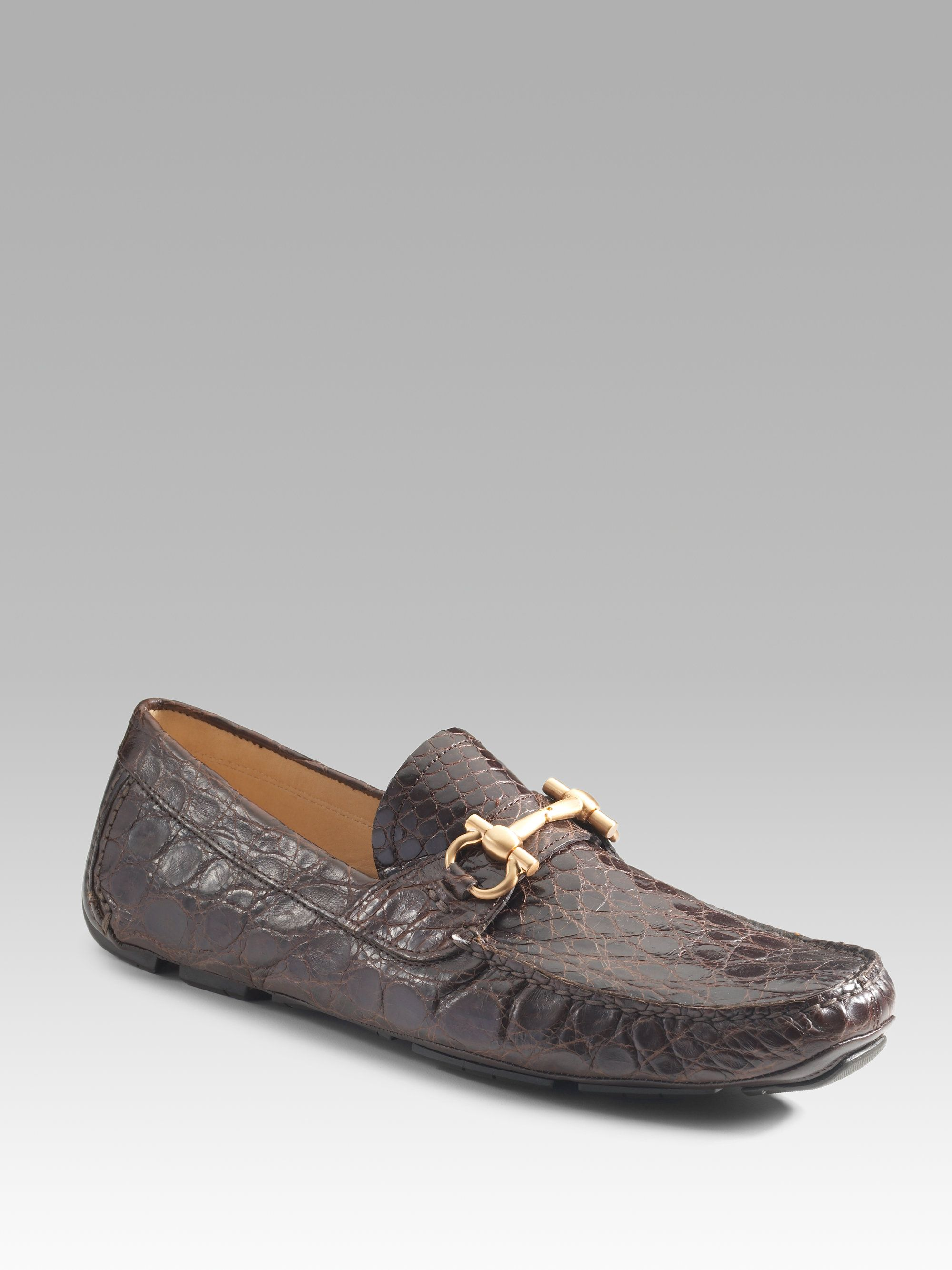 19c261dc32f Ferragamo Parigi Crocodile Drivers in Gray for Men (mocca)