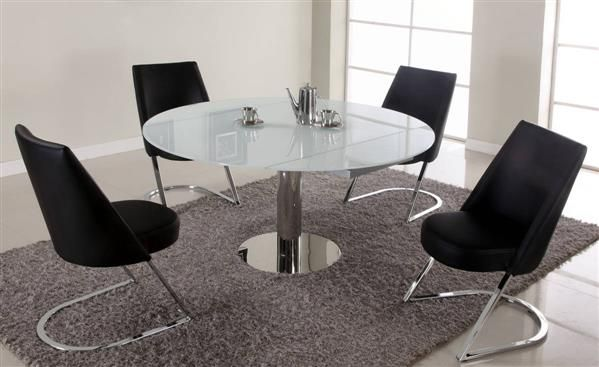 Tami White Black Stainless Steel Glass Pu Dining Room Set Glass