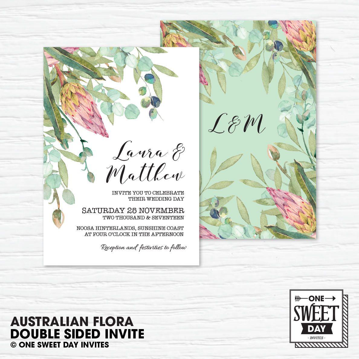 Wedding Invitation Printable, Australian, Native Flowers, Eucalyptus ...