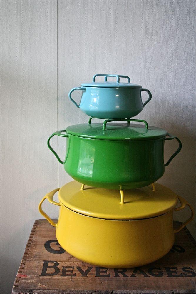 Yellow Green Blue Enamel Pots Enamel Cookware Vintage Enamelware Vintage Kitchen