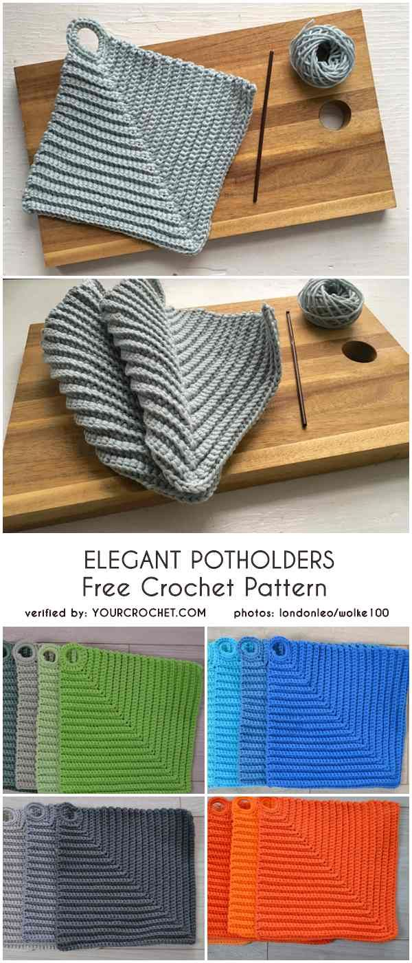 Elegant Potholders Free Crochet Pattern #crochetpotholderpatterns