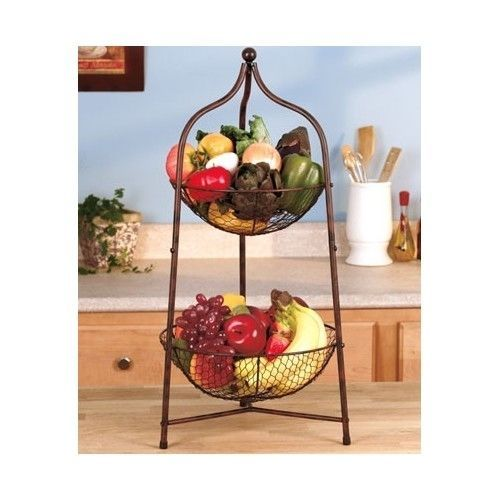 2 Tier Countertop Storage Basket Fruit Vegetable Holder Organizer