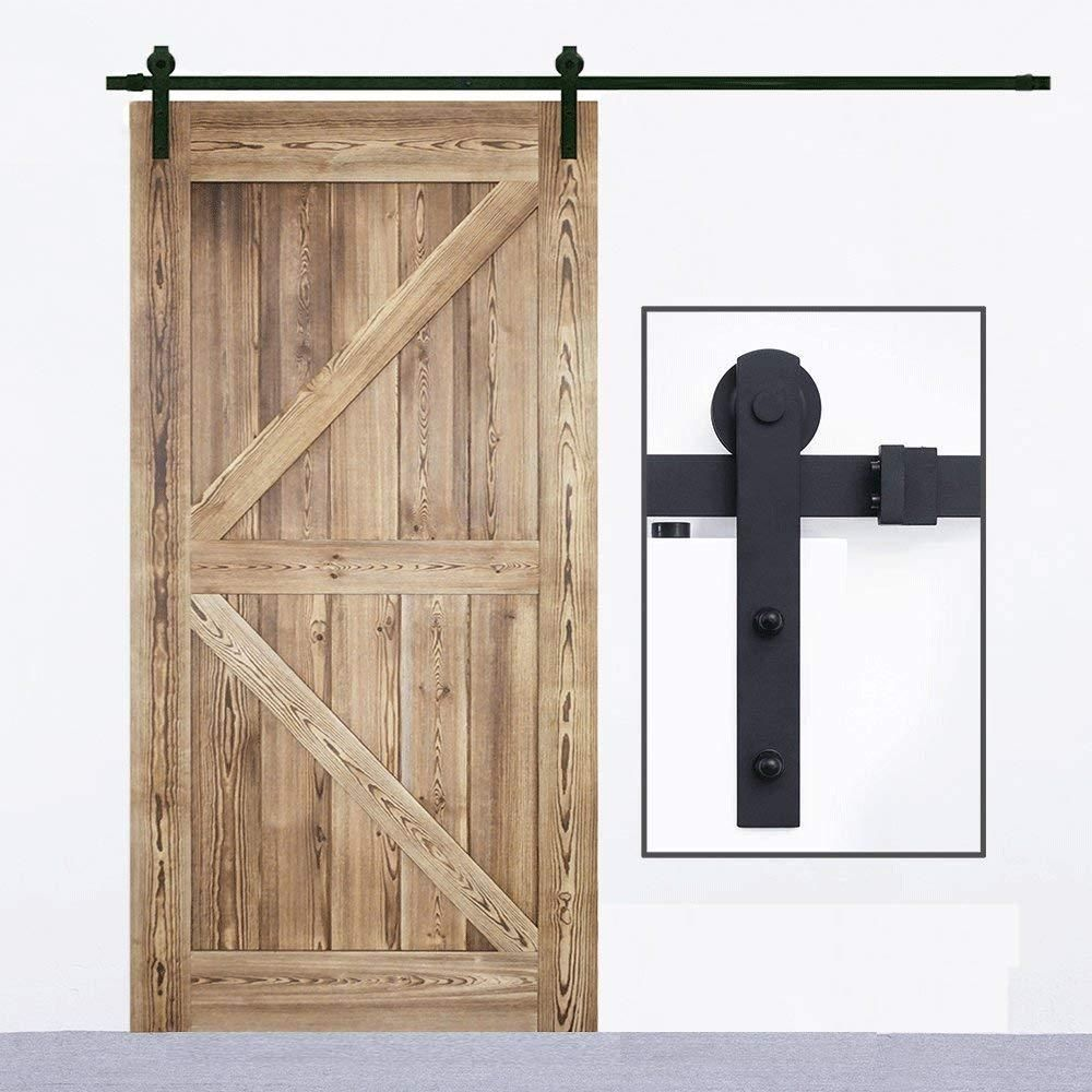 6 6ft Heavy Duty Sliding Barn Door Hardware Kit Sturdy Smoothly Quiet Easy To Install Black Sliding Barn Door Barn Door Hardware Barn Door