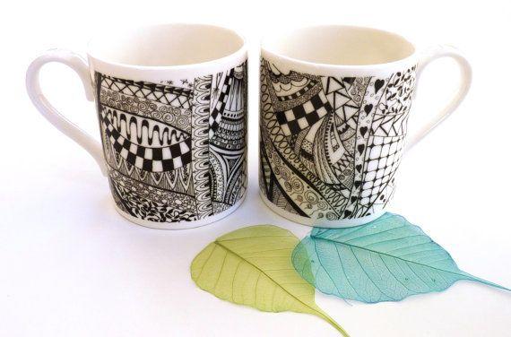 Bone china mug  Valentines gift  Black white mugs by KilnFiredArt