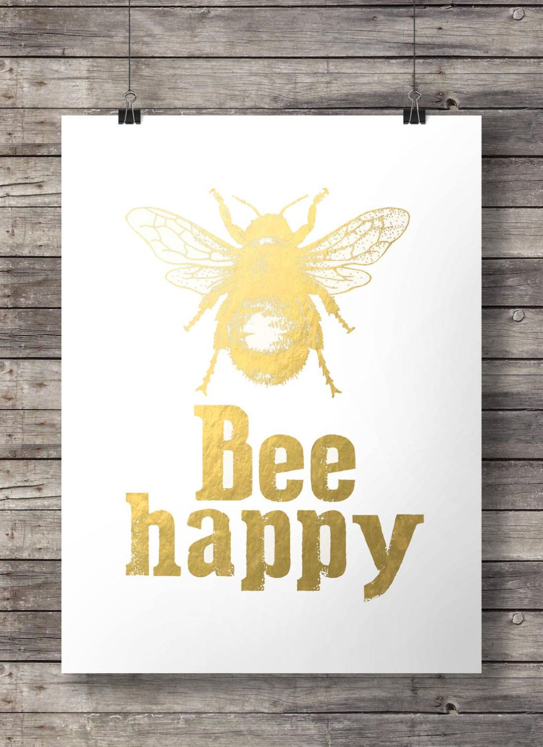 Faux gold foil Bee print - Printable Gold Bee wall art INSTANT ...
