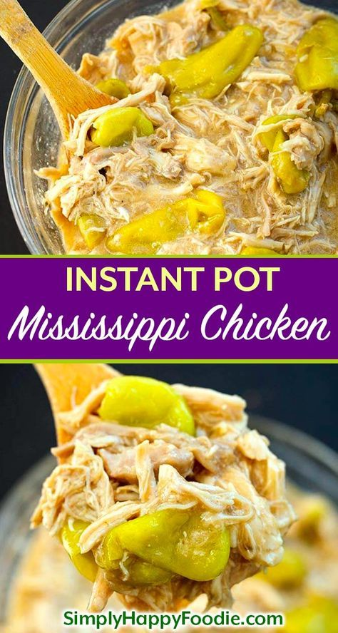 Instant Pot Mississippi Chicken is a delicious recipe for chicken thighs or breasts. Pressure cooker Mississippi Chicken is full of flavor and easy to make! Great for Game Day, or feeding a crowd. simplyhappyfoodie.com #instantpotmississippichicken #pressurecookerchicken #instantpotchicken #instantpotchickenrecipes