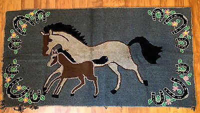 Vintage Mother And Mare Horse Hooked Rug American Folk Art Early 1900 S Animal