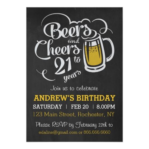Beers and Cheers to 21 Years Birthday Invitation Birthdays, 40 - birthday invitation for adults
