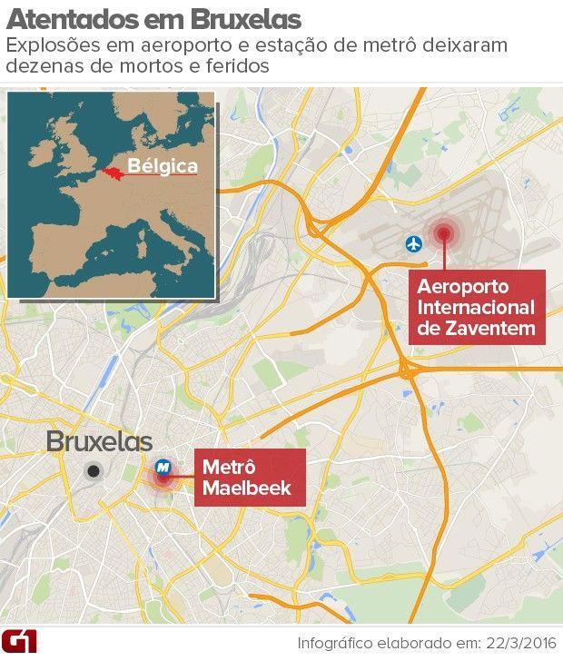 Mapa atentados de Bruxelas de 22/3/16 (Foto: Editoria de arte/G1)