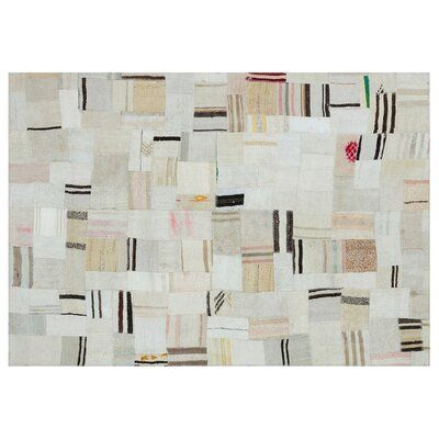 Bespoky Vintage Rugs One-of-a-Kind Patchwork Hand-Knotted 5.3' x 7.7' Wool/Cotton Cream/Black Area Rug | Perigold