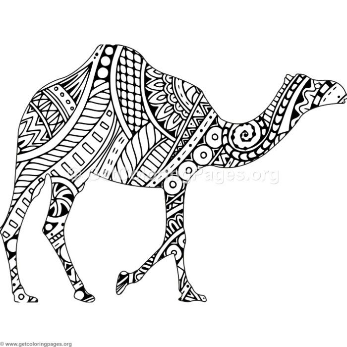 Free Download Zentangle Camel Coloring Pages #coloring #coloringbook ...