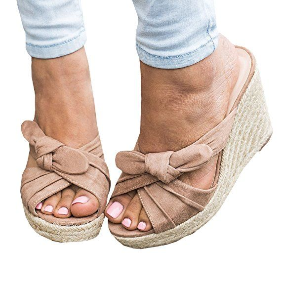 93dc629d917 Syktkmx Womens Peep Toe Espadrille Platform Wedges Slip on Heeled Tie Knot  Slides Sandals