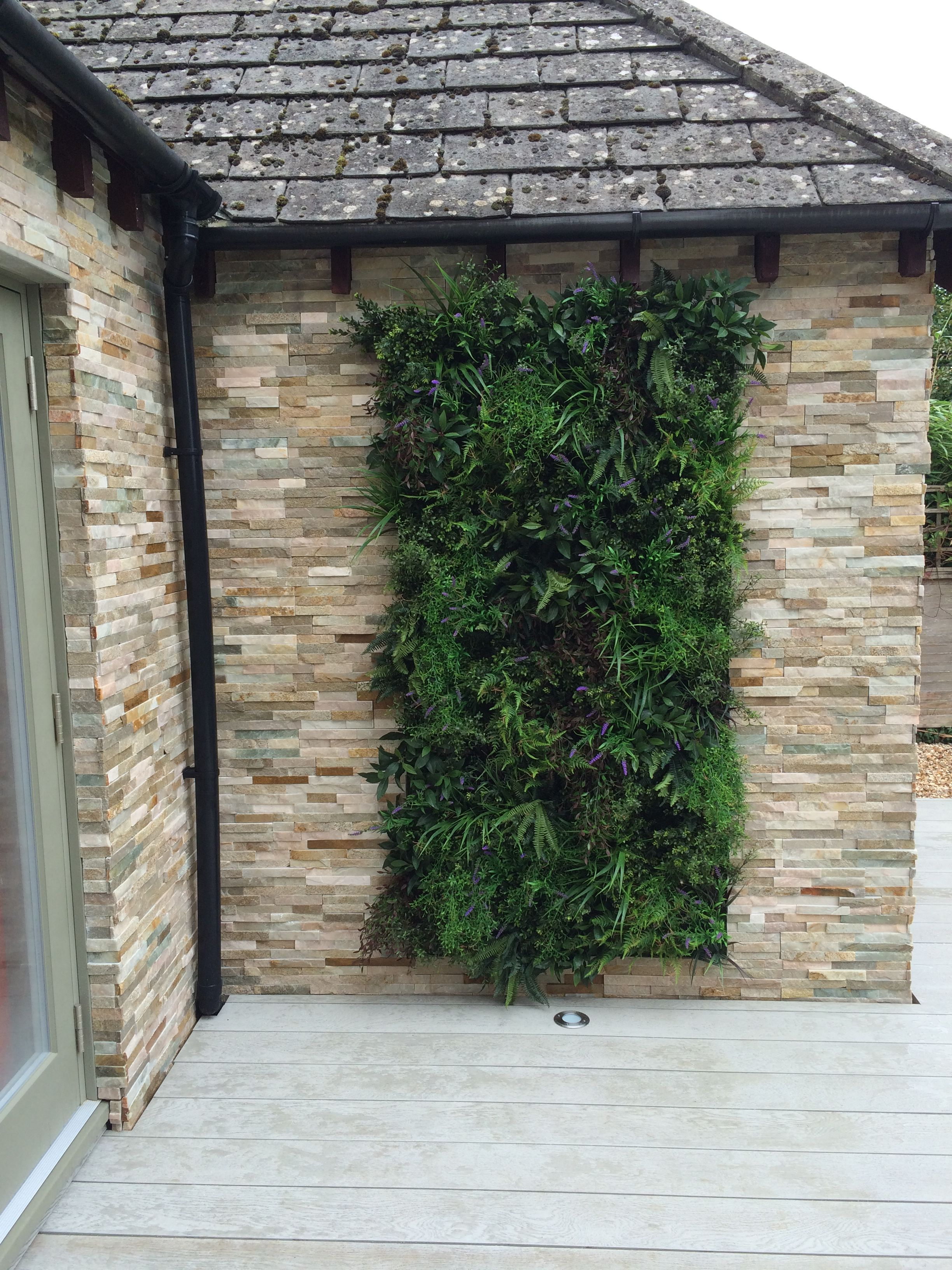 Marshalls Stoneface Drystack Veneer Walling With An Artificial Living Wall