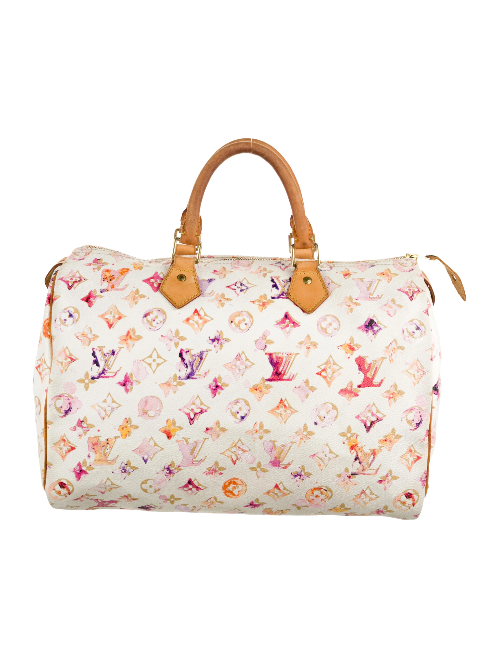 Limited Edition White And Multicolor Monogram Watercolor Coated Canvas Louis Vuitton Aquarelle Speedy 3 Handbag Handles Louis Vuitton Louis Vuitton Speedy Bag