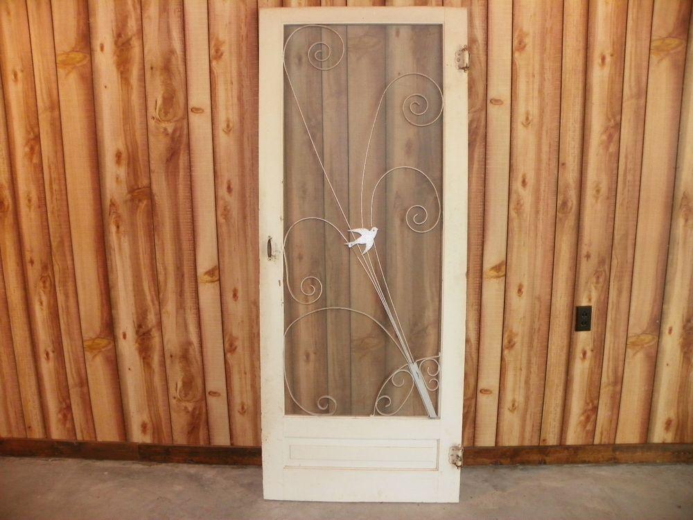 Vintage Antique Wooden Screen Door With Bird Grille 1950s Vintage Screen Doors Wooden Screen Door Remodel
