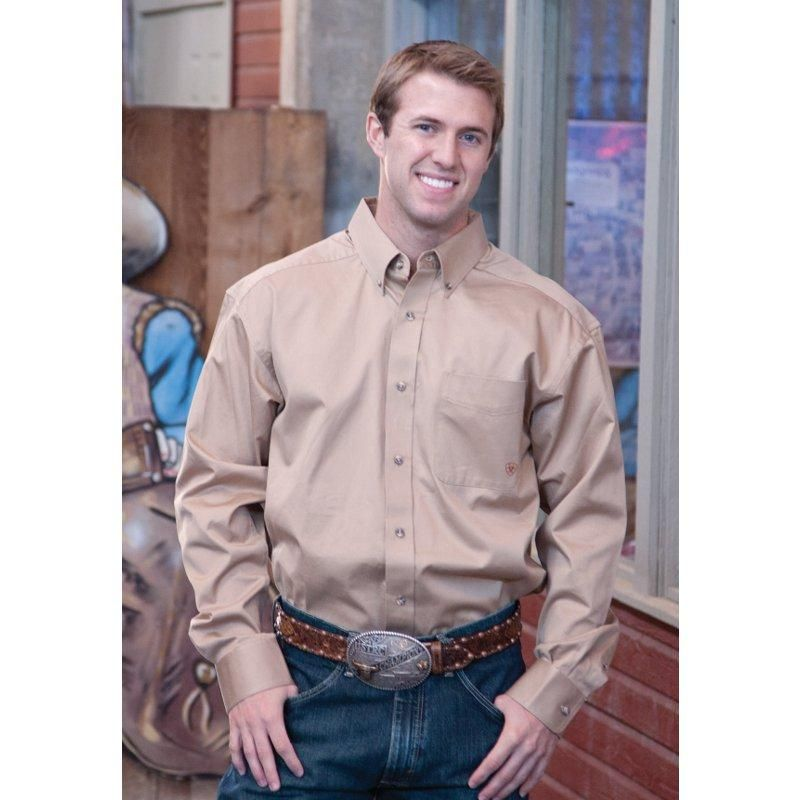 23f350d9199a Men s Ariat Solid Twill Buttondown Khaki Shirt