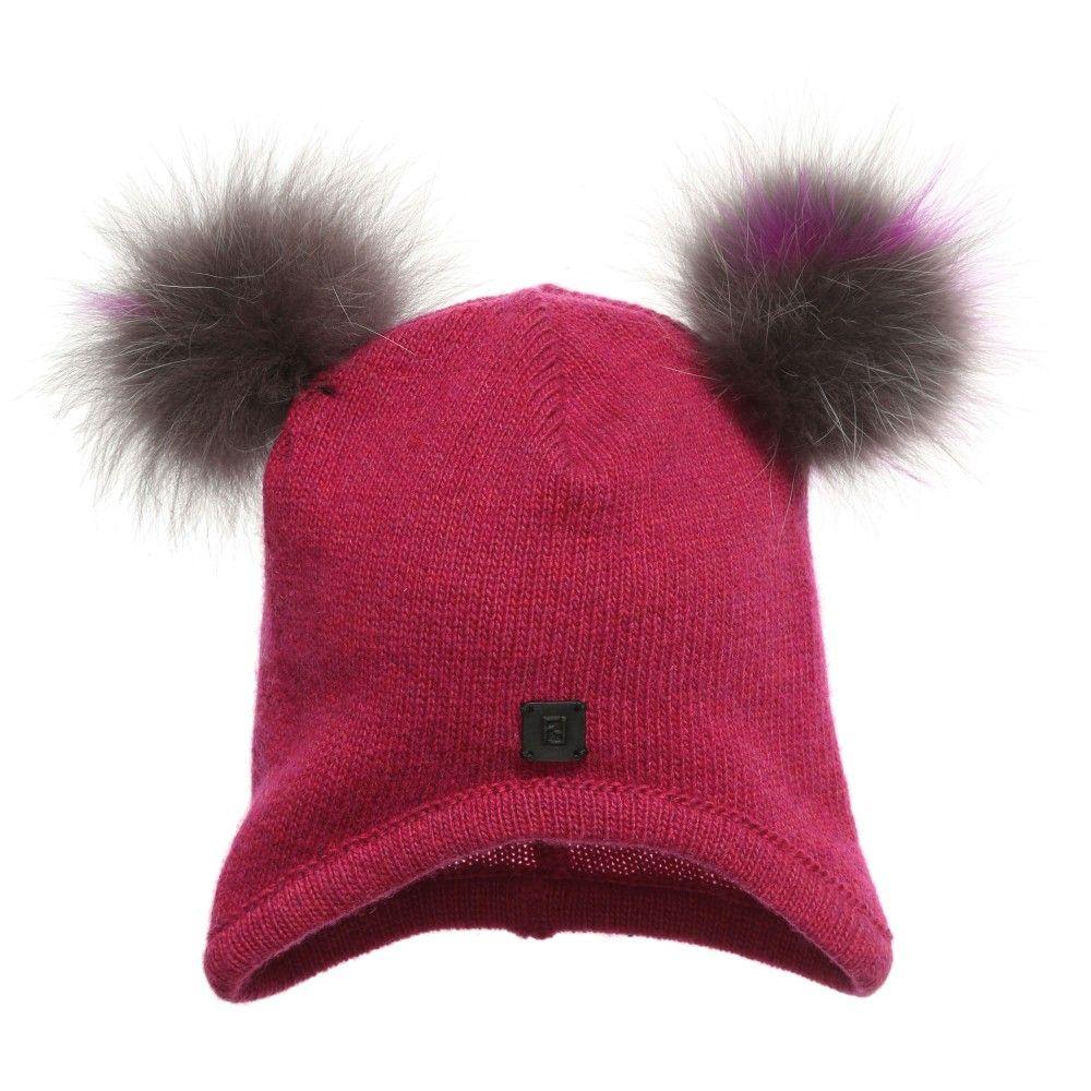 Fendi Baby Girls Pink Wool Hat with Pom Poms at Childrensalon.com ... 30f37c8d325