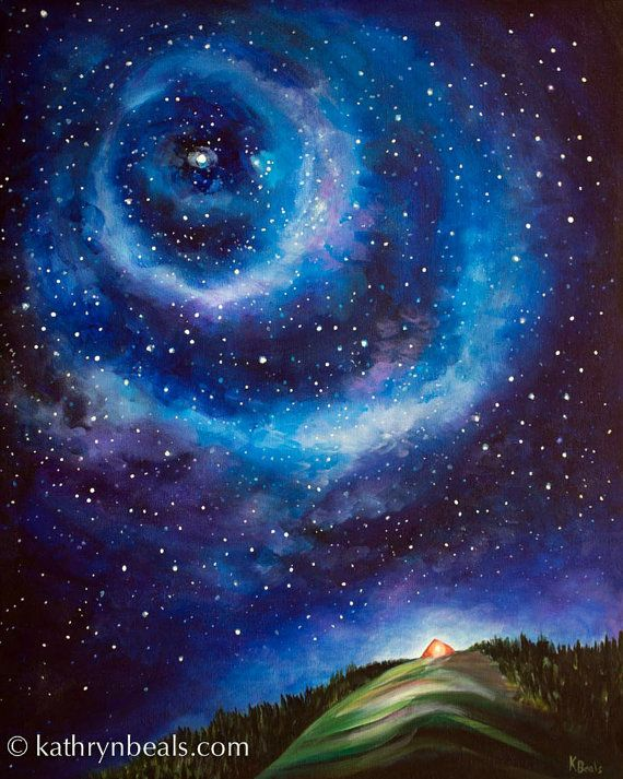 Night Sky Landscape Painting Tent On A Hill Photo Print Night Sky Painting Sky Painting Landscape Paintings